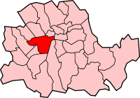 Metropolitan Borough of Westminster shown within the County of London