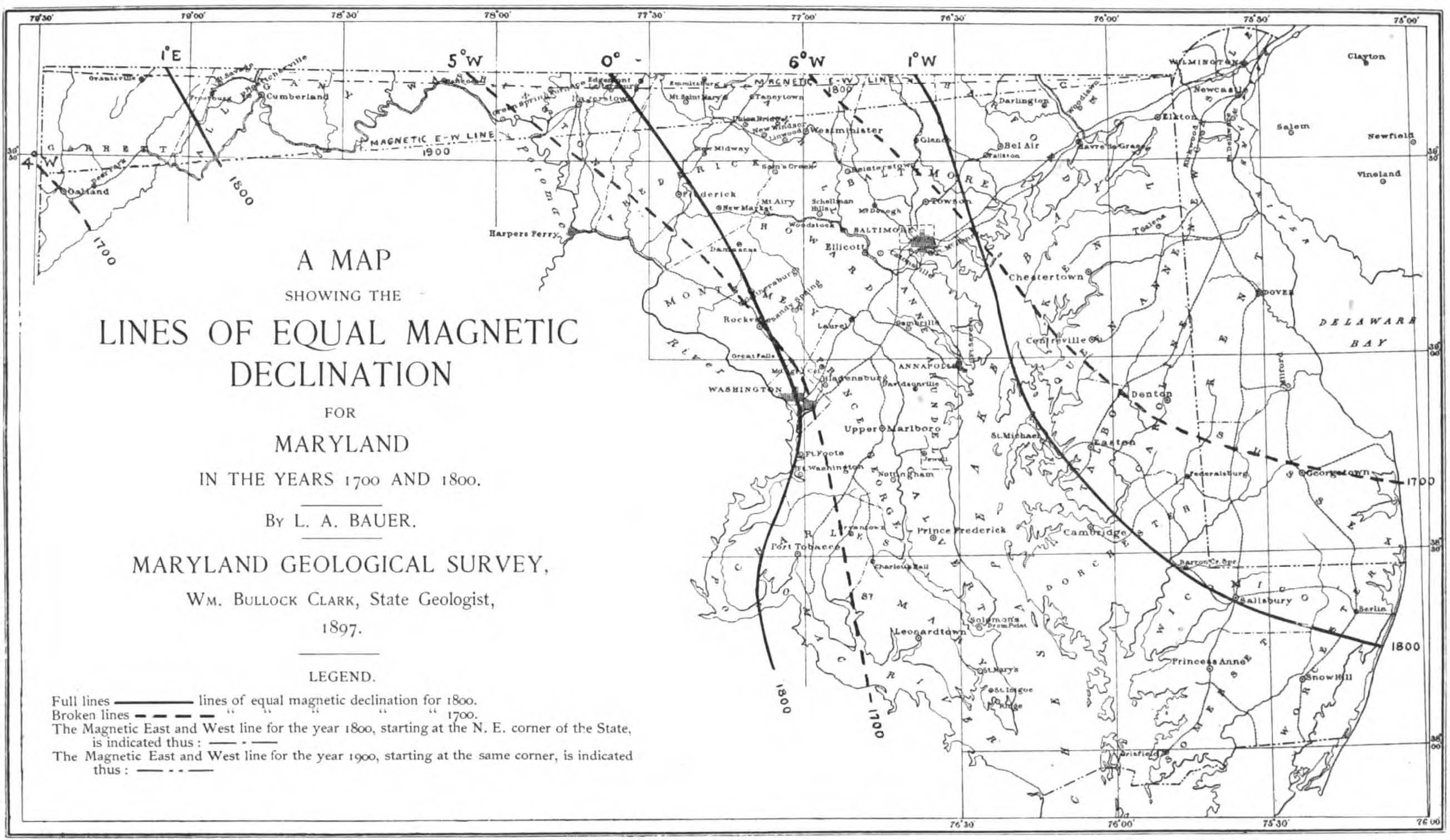 File:Magnetic Declination Map of Maryland Plate XVII WBClark 1897 ...