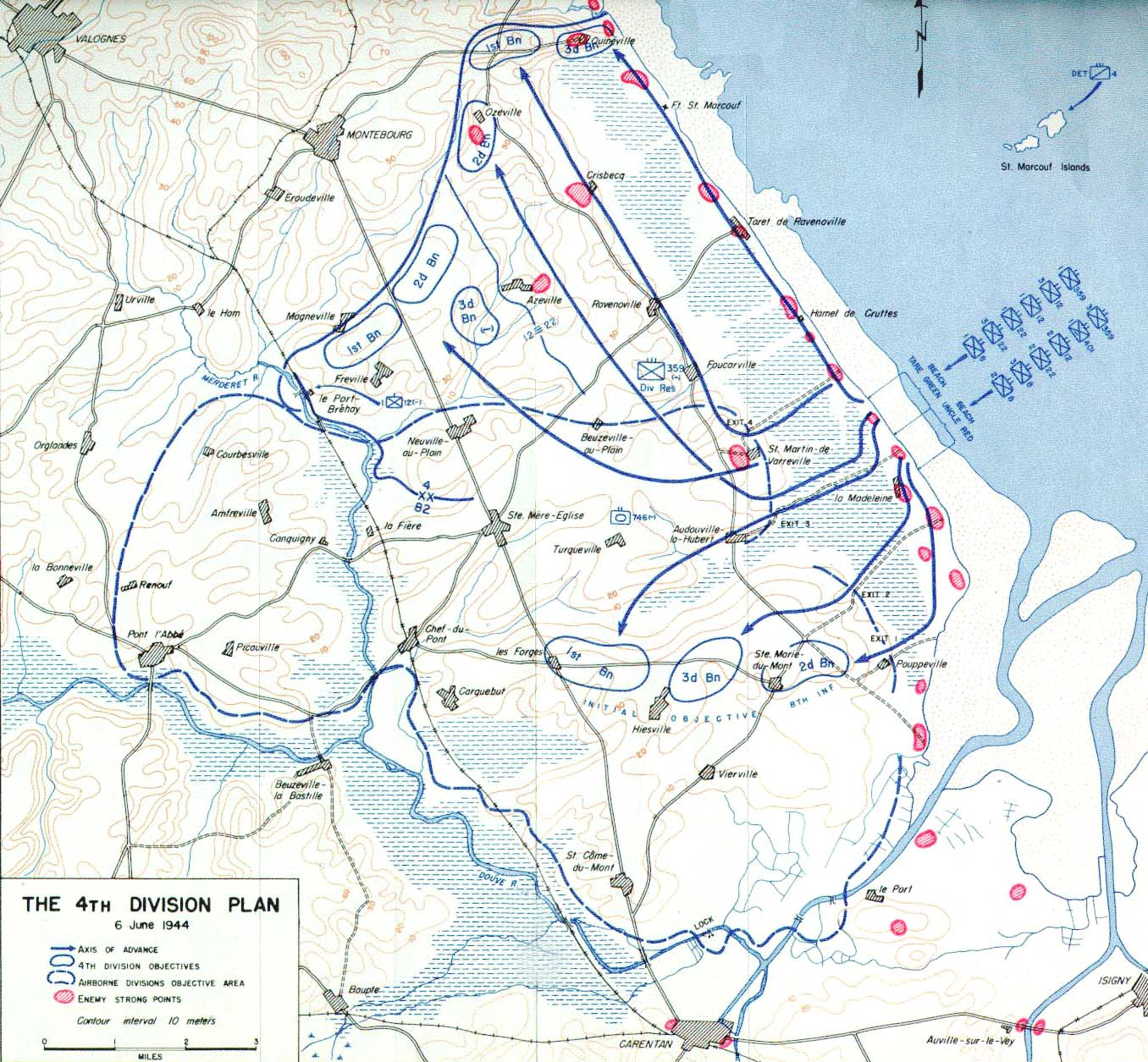 file map of plan for us 4th division d day 6 june