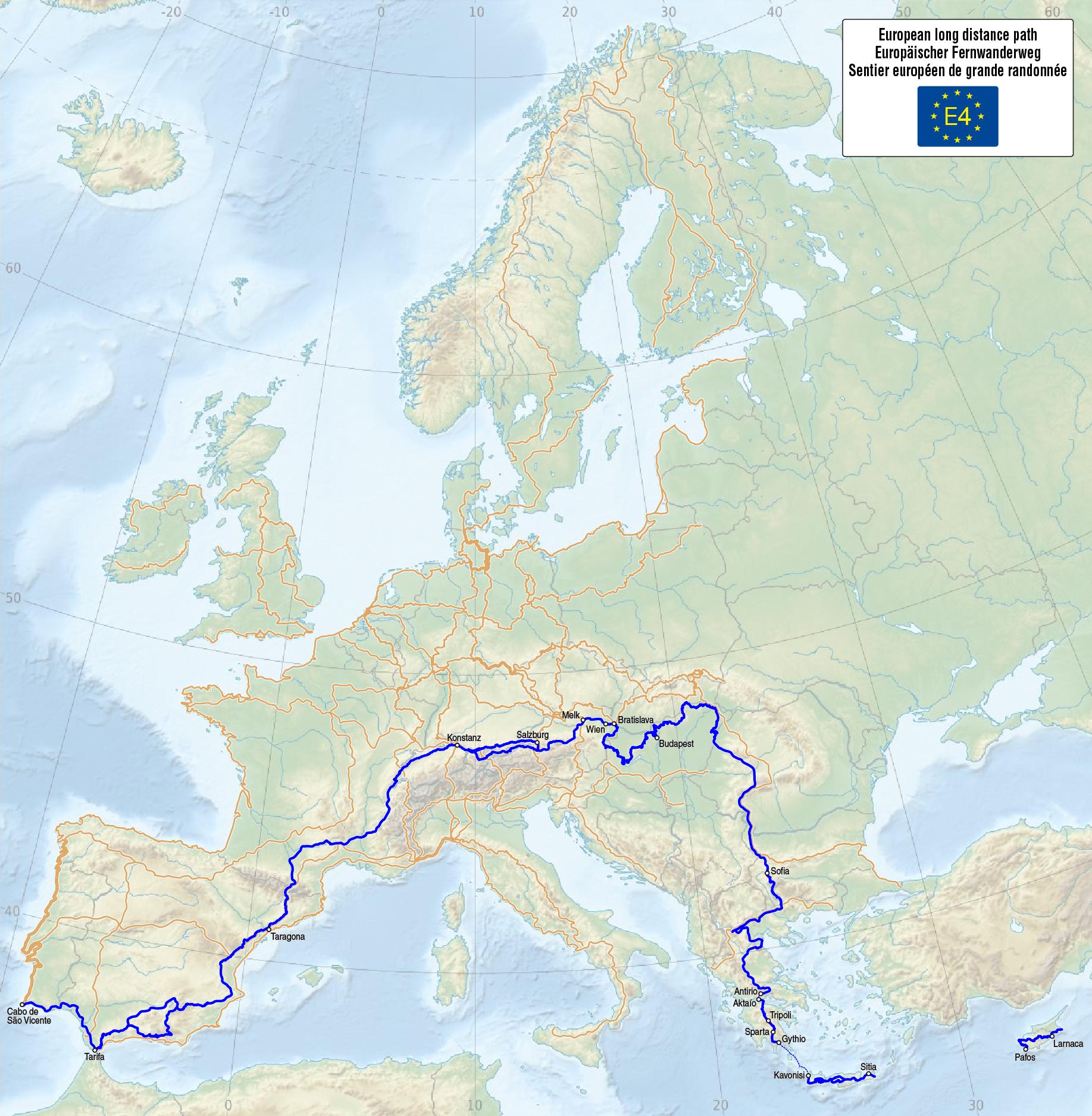 Carte E4 Crete.E4 European Long Distance Path Wikipedia