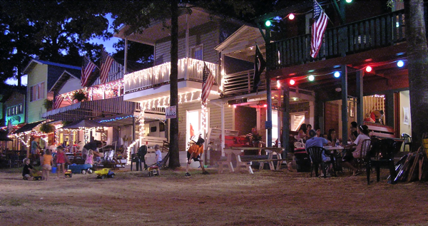 English: Neshoba County Fair cabins at night, 2010