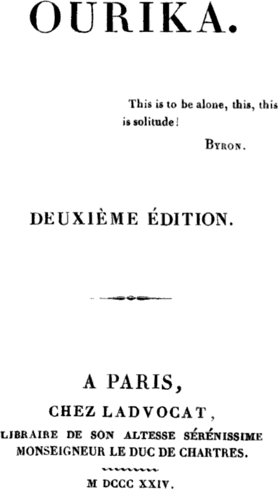 ourika by claire de duras essay Confinement, the family institution, and the case of claire de duras's ourika in the last section of this essay, i propose a reading of claire de duras's ourika.