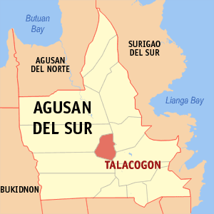 Map of Agusan del Sur showing the location of Talacogon
