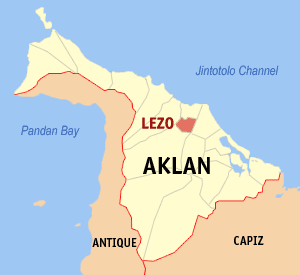 Map of Aklan showing the location of Lezo