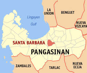 Map of Pangasinan showing the location of Santa Barbara