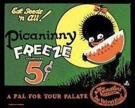 Reproduction of an old tin sign advertising Picaninny Freeze, a frozen treat (1922)