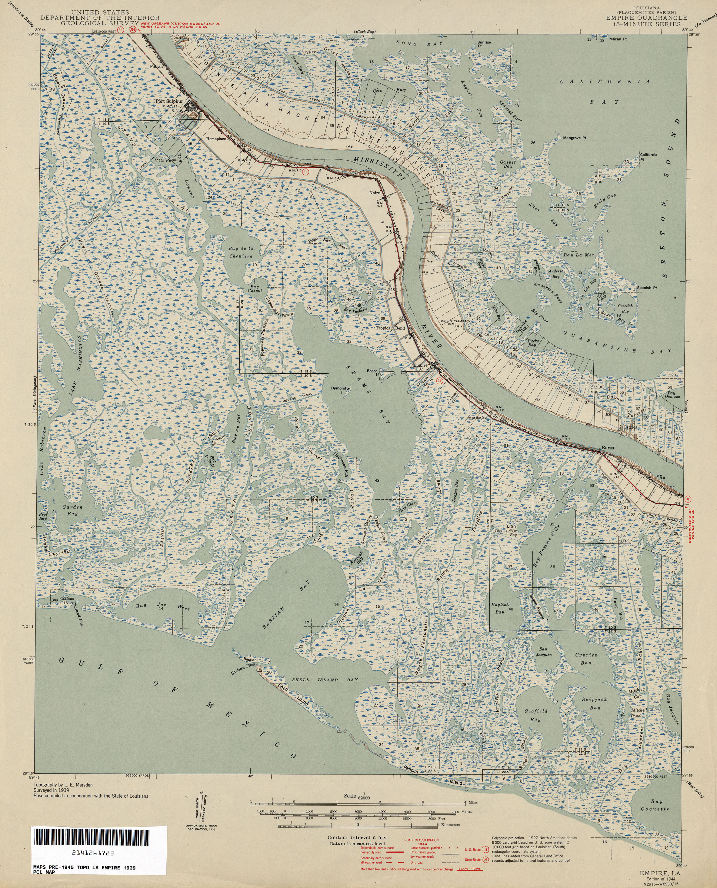 FilePlaquemines Parish Louisiana Empire Area Map 1944jpg