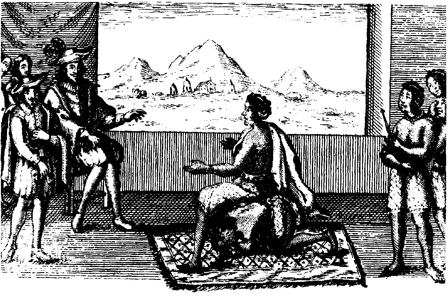 Queen Nzinga in peace negotiations with the Portuguese governor in Luanda, 1657. Public domain image courtesy of Wikimedia Commons.