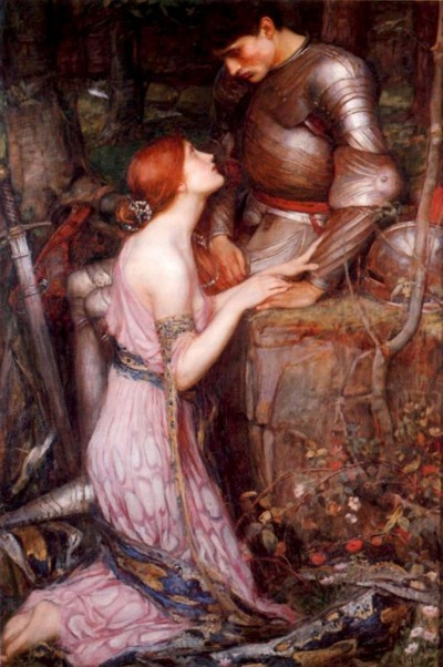 The Middle Ages in art: a Pre-Raphaelite painting of a knight and a lady (Lamia by John William Waterhouse, 1905) Redgirl and knight01.jpg