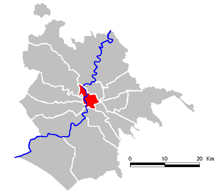 Figure 2. Red highlighted area shows Municipio I within city of Rome's boundaries. Wikipedia.