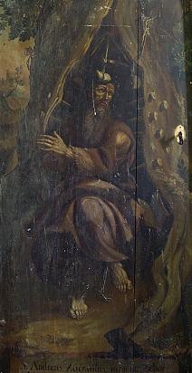 Bilde av Andreas i kirken på kirkegården i Rozalia i Kosice av en ukjent maler fra 1700-tallet