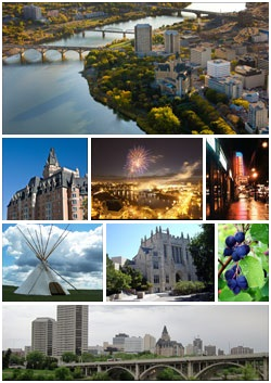 From Left to Right-Downtown Saskatoon featuring the South Saskatchewan River, The Delta Bessborough, Saskatoon Fireworks Festival, Broadway Avenue, Wanuskewin Heritage Park, دانشگاه سسکچوان, The Saskatoon Berry, The Saskatoon skyline featuring the Broadway Bridge