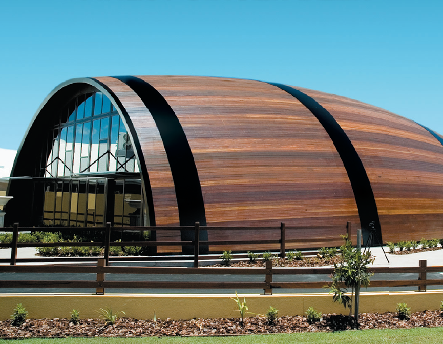 the big barrel in Bundaberg looks like half a barrel coming out of the ground