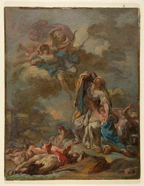 The punishment of the arrogant Niobe by Diana and Apollo
