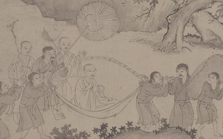 """Một góc tranh """"Trúc Lâm đại sĩ xuất sơn đồ"""", Tranh mô tả Trần Nhân Tông từ hành cung Vũ Lâm xuất du"""