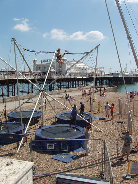 Trampoline with assisted bounce, Brighton beach - geograph.org.uk - 1338775.jpg English: Trampoline with assisted bounce, Brighton beach. The