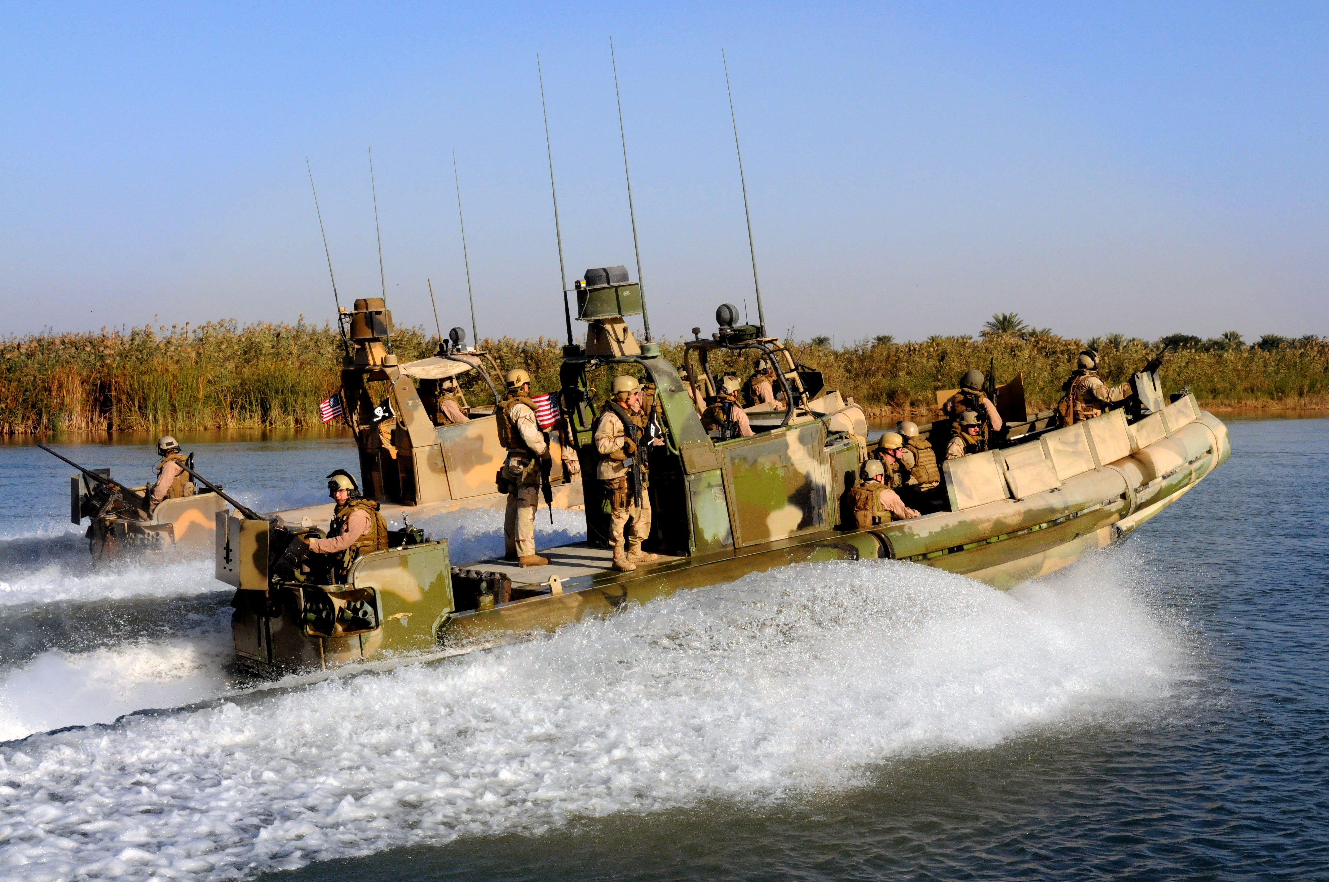 Navy River Patrol Boats http://commons.wikimedia.org/wiki/File:US_Navy_081127-N-5549O-110_Sailors_assigned_to_Riverine_Squadron_1_race_along_the_Euphrates_River_in_riverine_patrol_boats.jpg