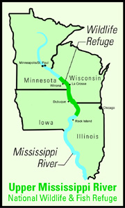 Upper Mississippi River National Wildlife And Fish Refuge Wikipedia - Map of the us mississippi river