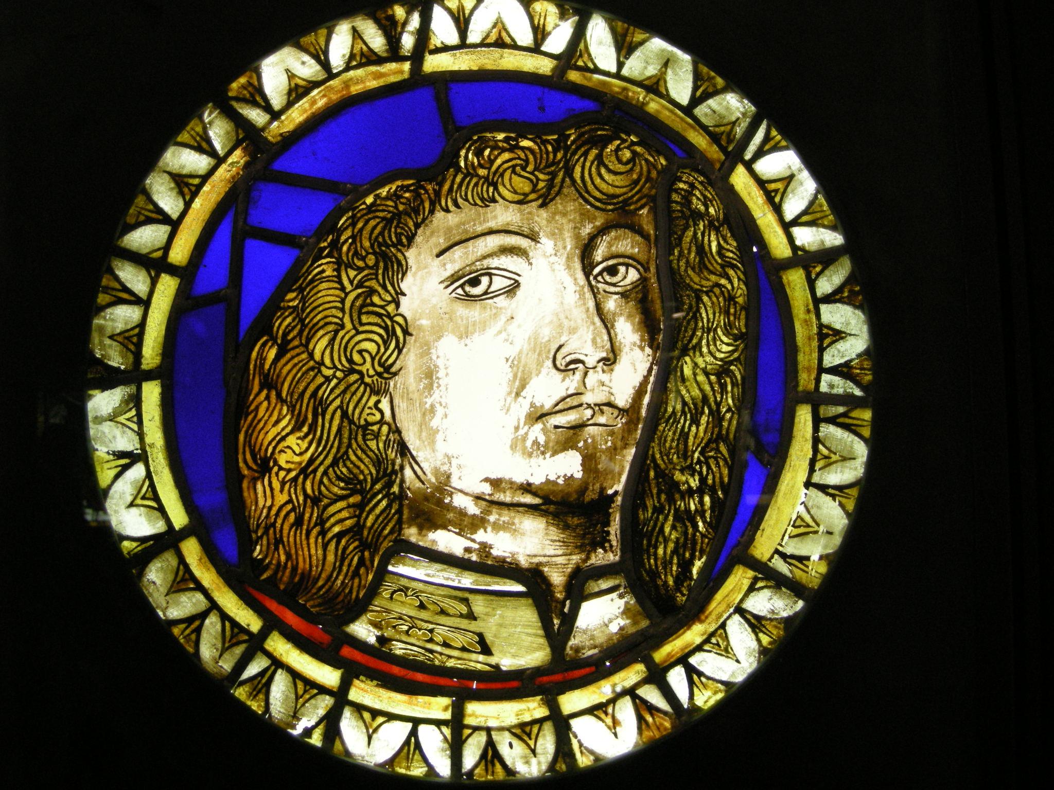 File:Vetrata con ritratto virile su cartone di ercole de' roberti, inv.