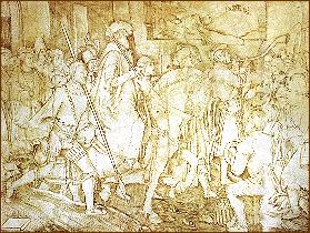 The suppression of St John's Abbey, Colchester, with the execution of the abbot shown in the background Visitation monasteries.JPG