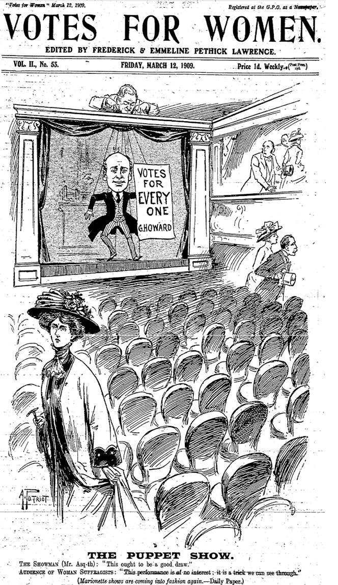line drawing, man on stage of theatre holding banner reading Votes for everyone