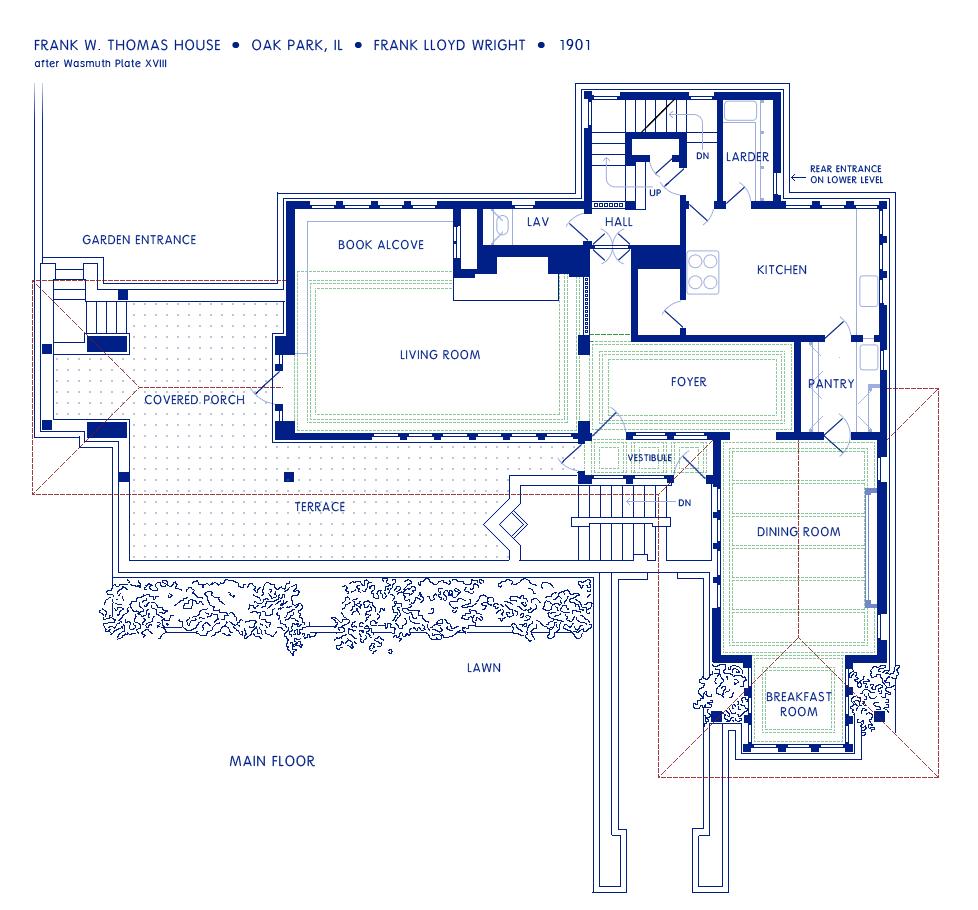 Frank lloyd wright house plans free for Frank lloyd wright house plans design