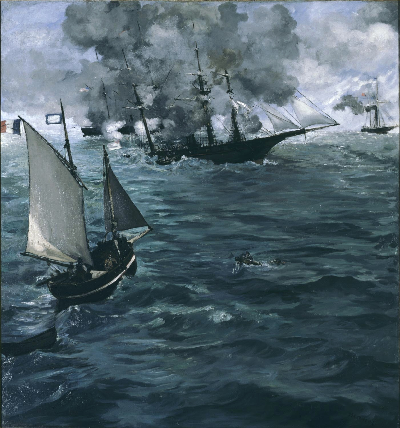"""""""The Battle of the Kearsarge and the Alabama"""" by Édouard Manet."""