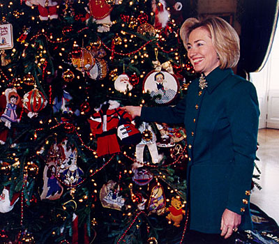 1997 Blue Room Tree with FLOTUS, Hillary Clinton