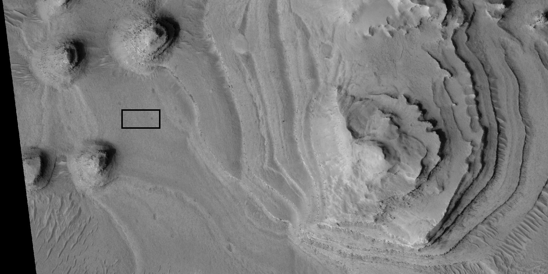Close view of layers, as seen by HiRISE under HiWish program. Box shows the size of a football field.