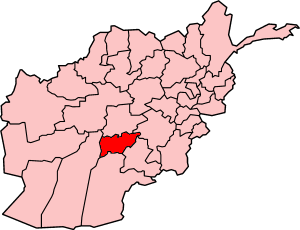 Map of Afghanistan with Oruzgan highlighted