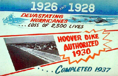 A sign advertising the completion of the Herbert Hoover Dike