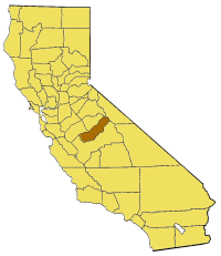 Map of California highlighting Madera County
