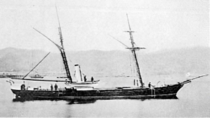 Japan's first domestically built steam warship was completed in May 1866 Chiyoda. Chiyodagata.jpg