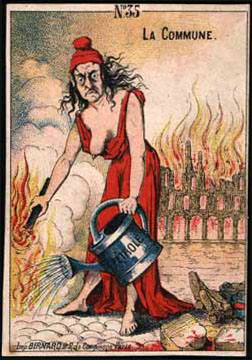 The propaganda postcard, post held a few weeks after the fall of the Paris Commune (July 1871).