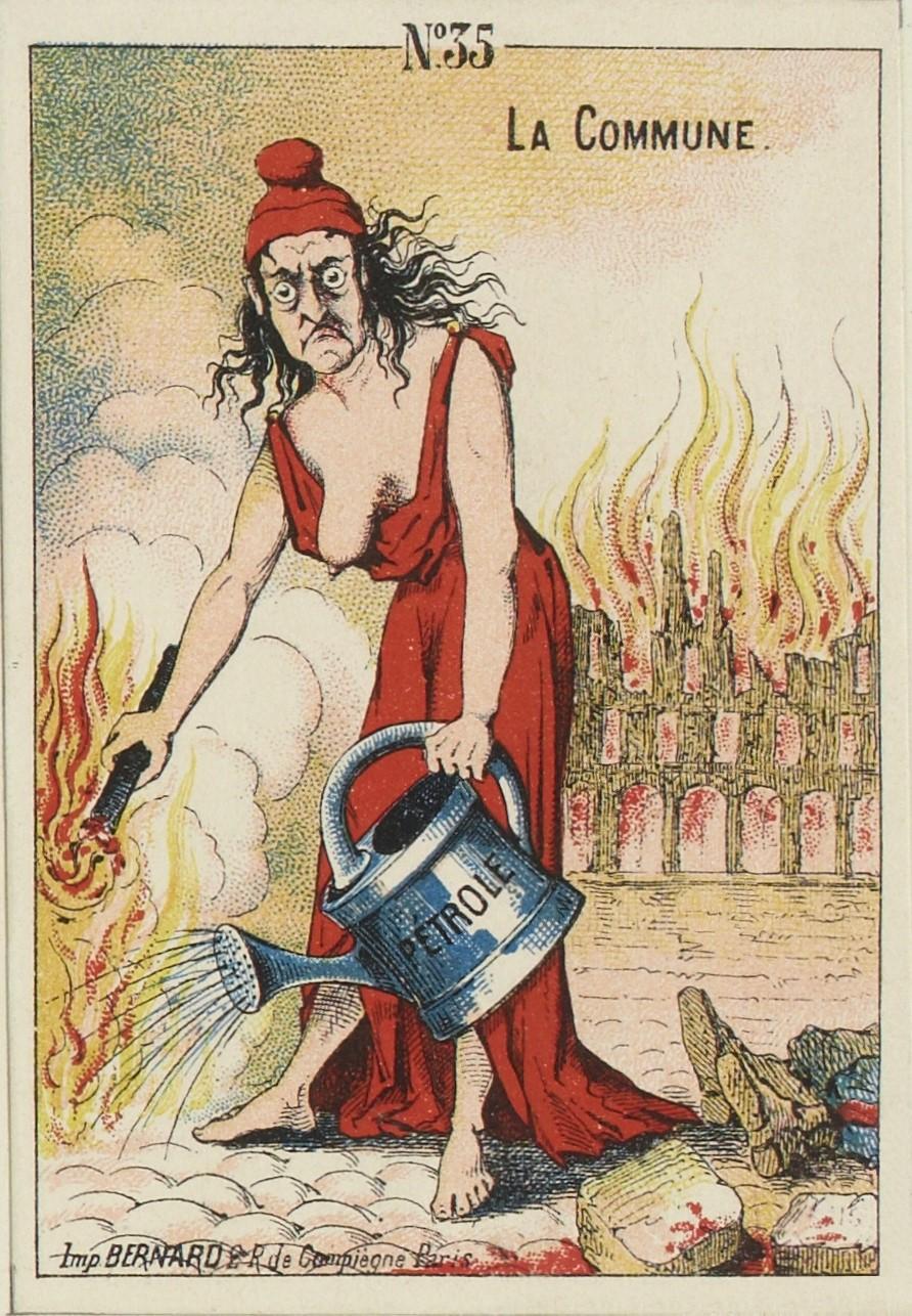Carte postale présentant une caricature de femme pyromane durant la Commune.