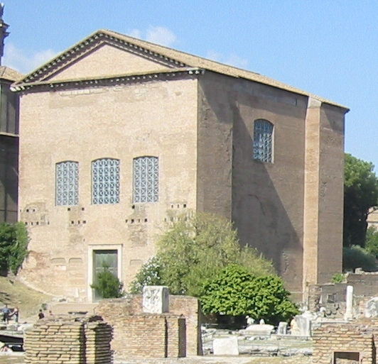 The Curia Julia in the Roman Forum, the seat of the imperial Senate. Curia Iulia.JPG