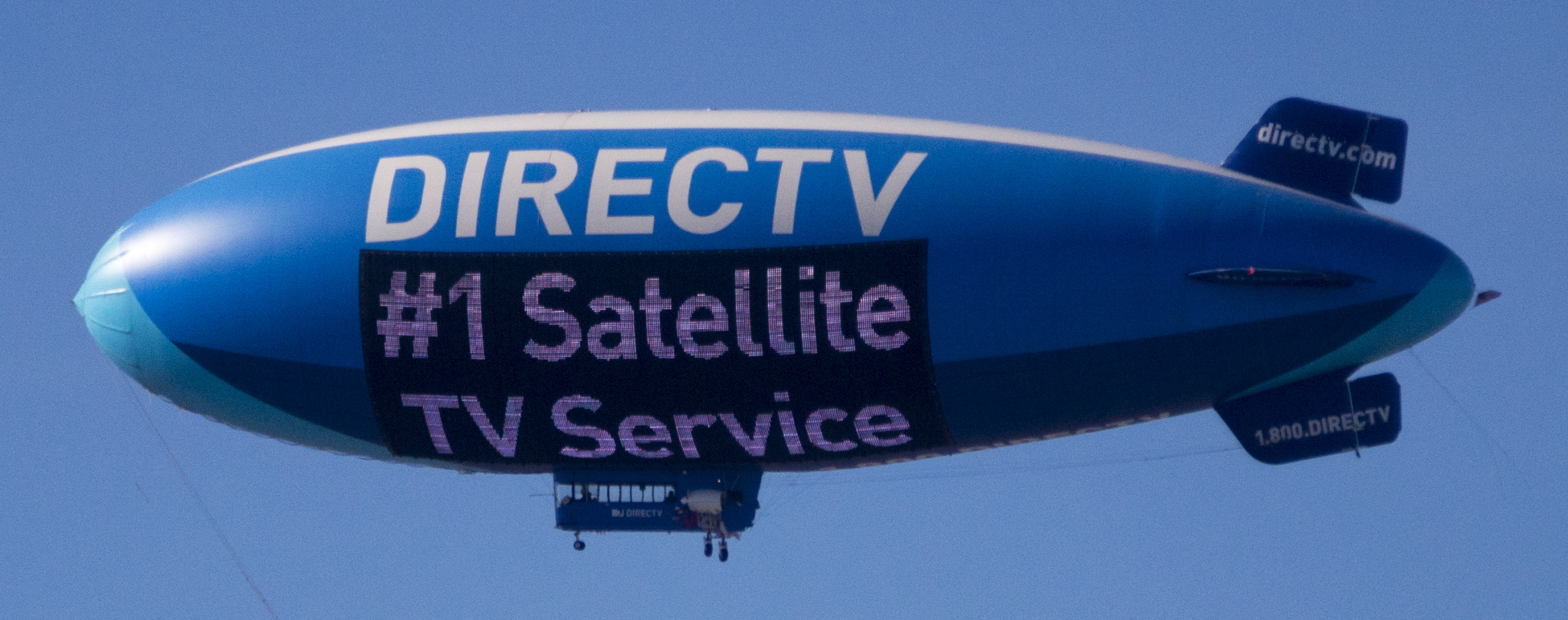DirecTV Blimp flying over West Las Vegas during the Consumer Electronics Show 2015.