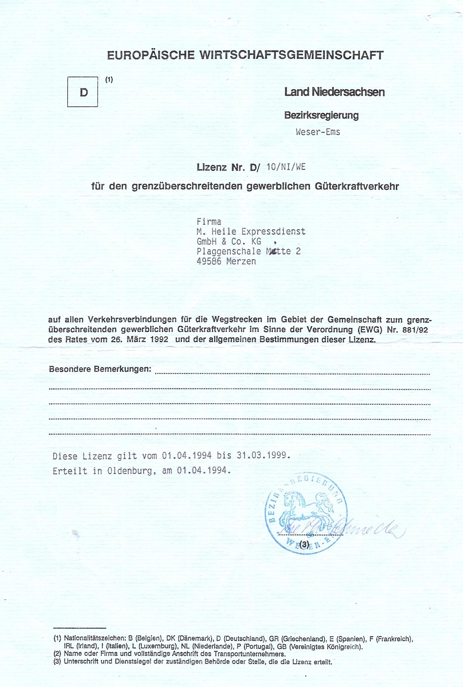 Lizenz Englisch