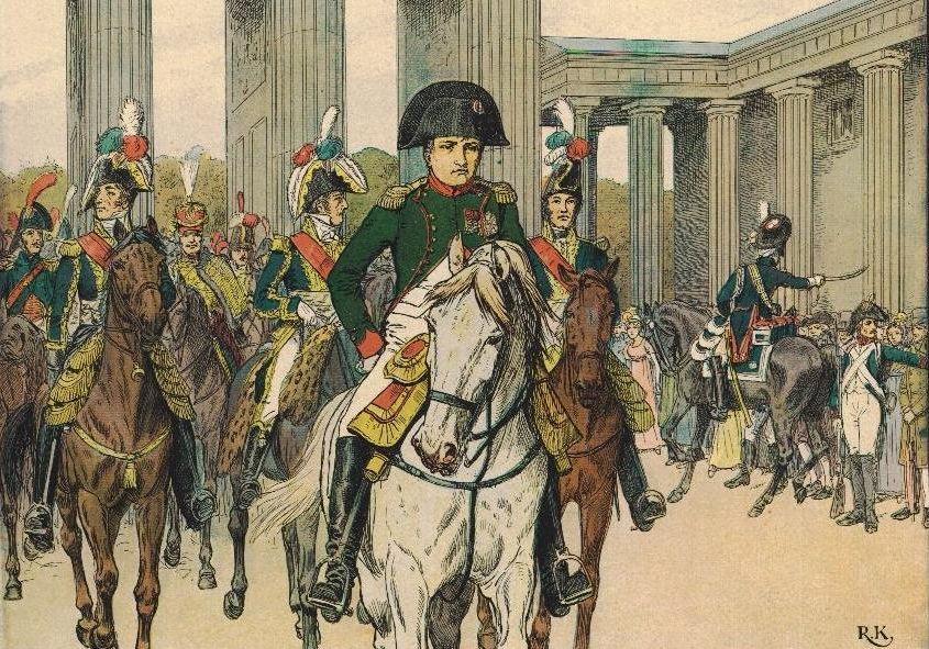 Napoléon sous la porte de Brandebourg à Berlin en 1806.