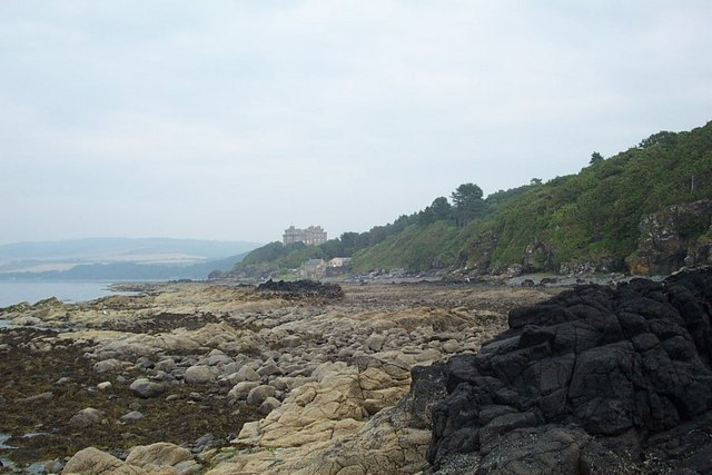 Foreshore of Culzean Bay with Culzean Castle in the distance - geograph.org.uk - 363943