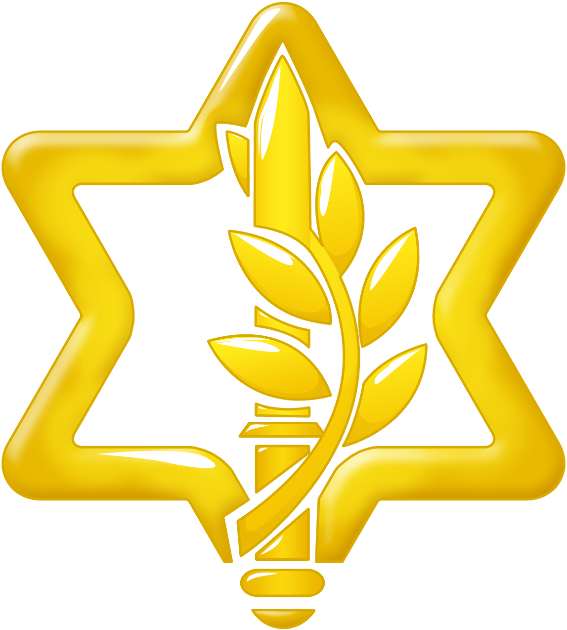 Israel Defense Forces logo, containing a sword wrapped in an olive branch withing the Star of David