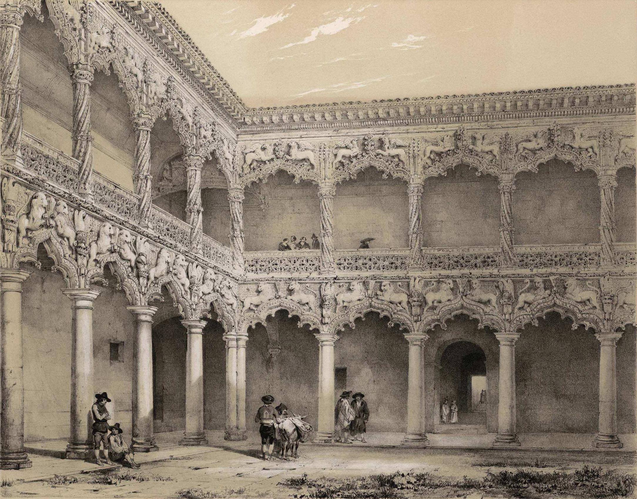File:Jenaro Pérez Villaamil (1842) Guadalajara. Patio del Palacio de los  Duques
