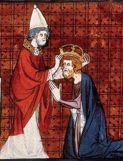 Pope Leo III, crowning Charlemagne from Chroniques de France ou de Saint Denis, vol. 1; France, second quarter of 14th century. Karel Leo.jpg