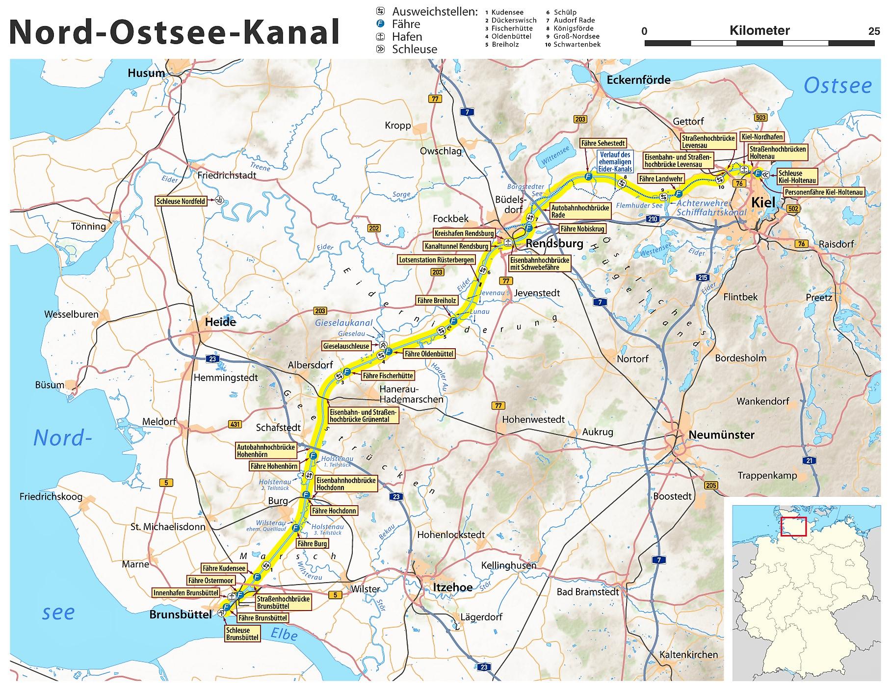 Carte Allemagne Kiel.Canal De Kiel Wikipedia