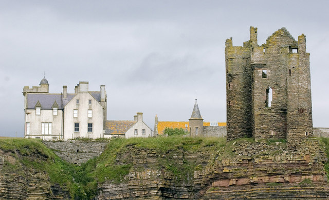 Old and New Keiss Castle side by side