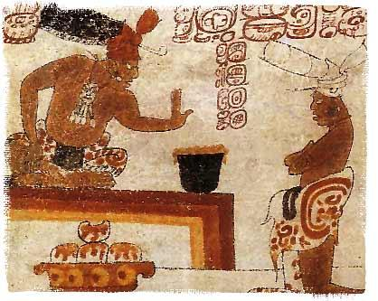 A Mayan chief forbids a person to touch a jar of chocolate (from Wikipedia)