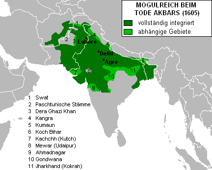 Map of the Mughal Empire under Akbar