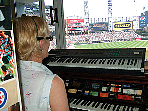 Nancy Faust playing at Guaranteed Rate Field, home of the Chicago White Sox Nancy Faust in Cellular Field organ booth 2010-09-27 1.jpg