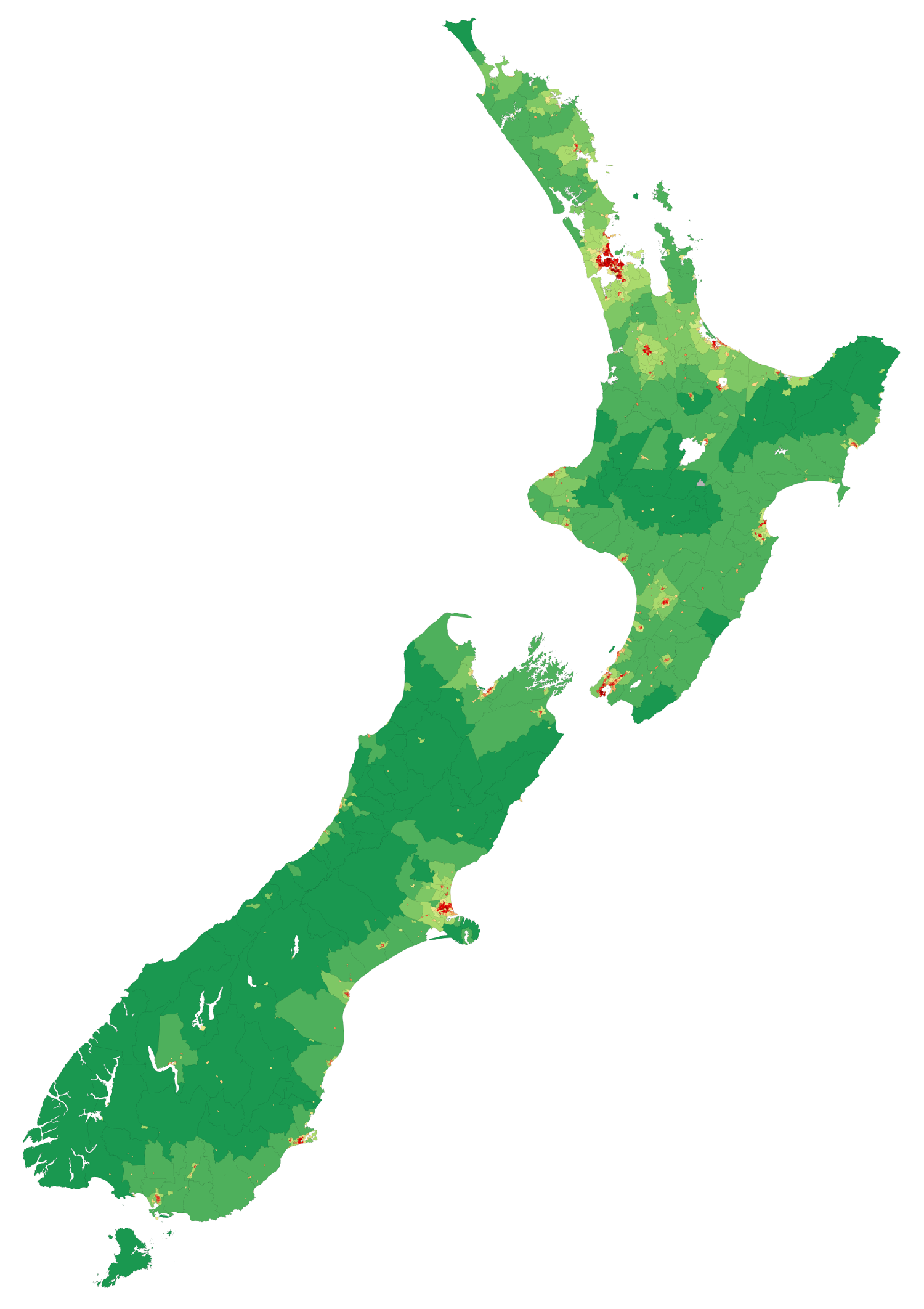 Map showing population density of New Zealand ...