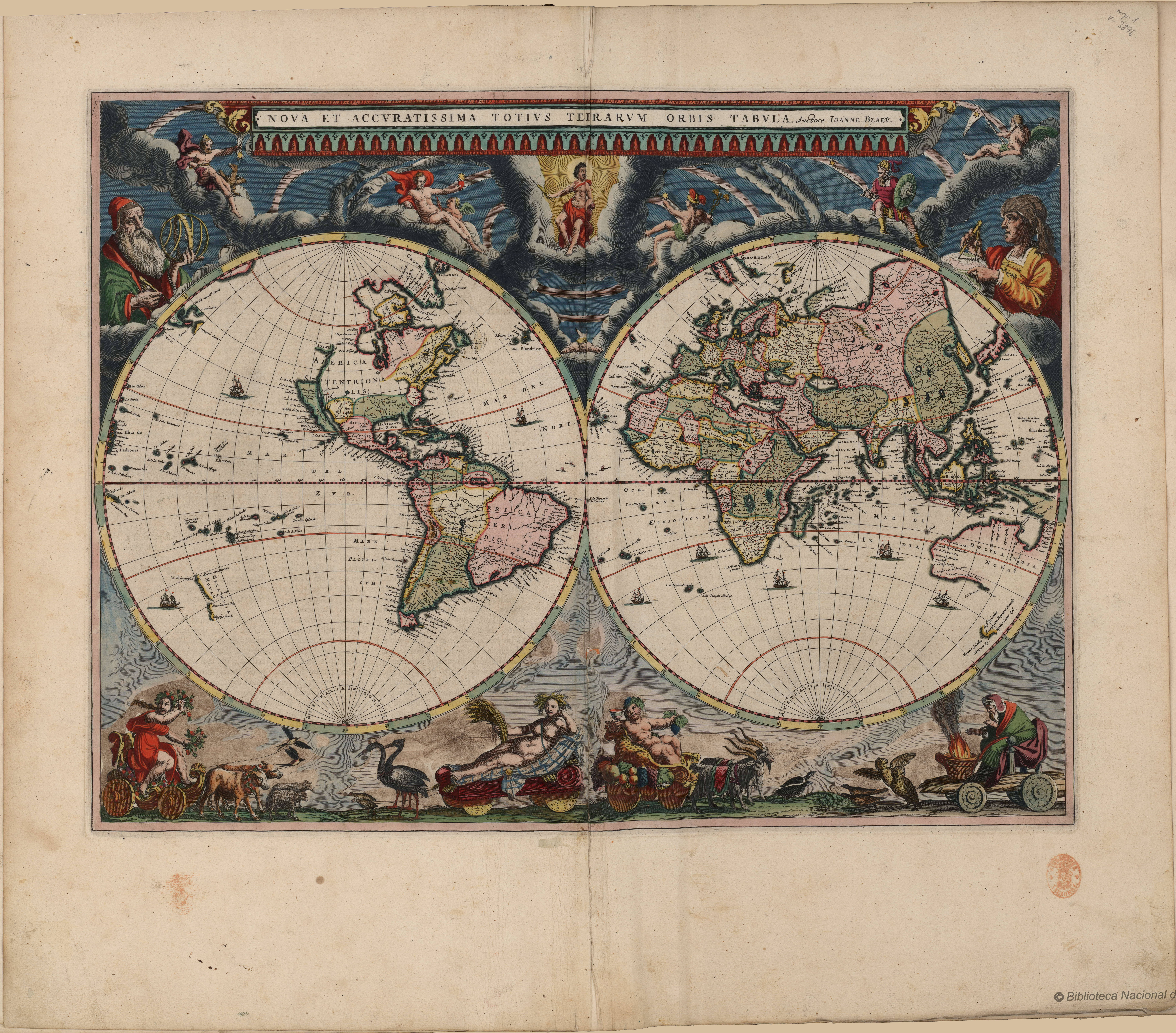 New and Most Accurate World Map\' by Joan Blaeu, 1664 [Nova et ...